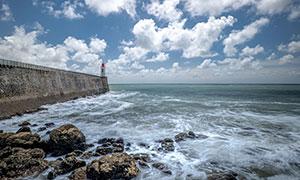 蓝天白云海景灯塔风光摄影高清图片