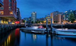 德国汉堡城市建筑夜景摄影高清图片