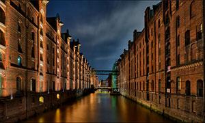 德国运河与建筑物风光摄影高清图片