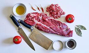 番茄牛肉食材与调味料摄影高清图片