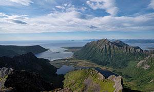 挪威海天一色群山风光摄影高清图片