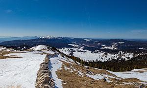 蓝天雪山树林全景视角摄影高清图片