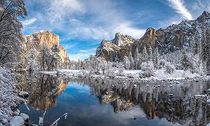 银装素裹湖光山色风景摄影高清图片