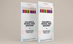 可挂式彩色铅笔包装盒样机模板素材