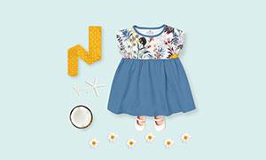 女宝宝裙子与袜子等服饰样机源文件