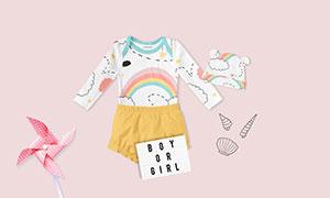 长袖衣服与短裤等宝宝服饰样机模板