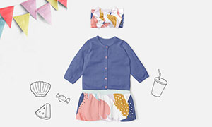 宝宝可爱小衣服服饰图案样机源文件