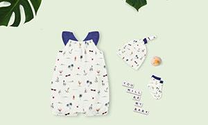 全棉嬰兒服飾印染圖案樣機模板素材
