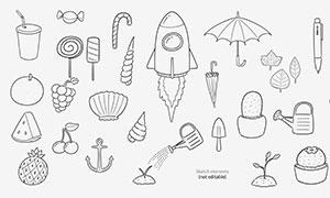 火箭雨傘與貝殼等手繪元素分層素材