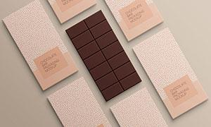 頂視圖視角巧克力包裝樣機模板素材