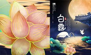 中式风格白露节气海报设计PSD素材