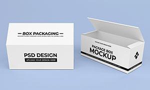 俯视视角下的包装盒展示样机源文件