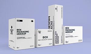 侧视视角包装盒组合展示样机源文件