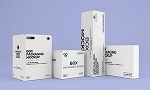 四种体积的包装盒样机模板分层素材