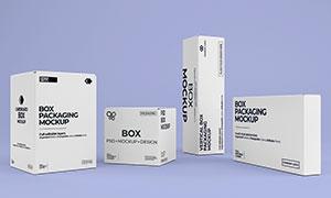 高低不一的包装盒样机展示模板素材