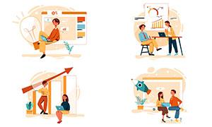 商务职场人物插画创意设计矢量素材