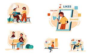 商务休闲场景人物插画创意矢量素材