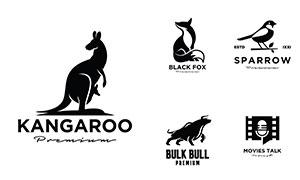 狐貍袋鼠與公牛等剪影標志矢量素材