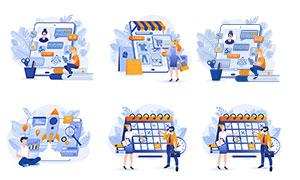 商務計劃與線上購物等人物矢量素材