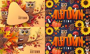 貓頭鷹與花朵樹枝等秋天創意矢量圖