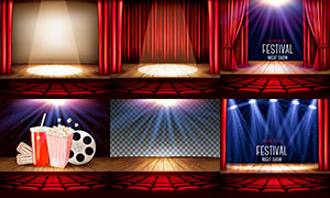 影劇院幕布背景與座椅主題矢量素材