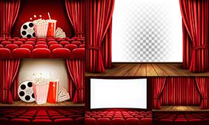 電影院紅色幕布與座椅主題矢量素材