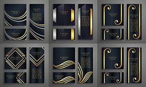 金色圖案裝飾BANNER設計矢量素材
