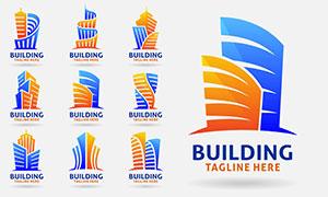 橙藍雙色的建筑物標志創意矢量素材