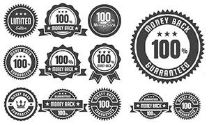 黑白锯齿状等标签设计创意矢量素材