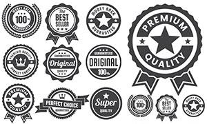 五角星王冠等装饰标签设计矢量素材