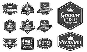 飘带装饰黑白效果标签设计矢量素材