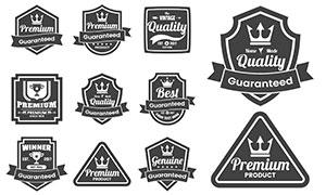 奖杯飘带元素复古标签设计矢量素材