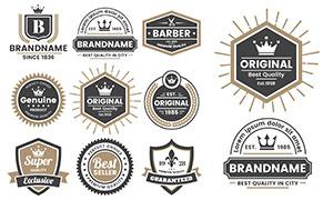 圆形与盾牌等形状标签设计矢量素材