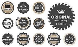 形状各异标签纹章创意设计矢量素材