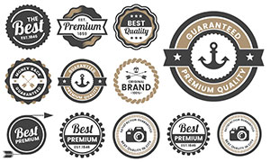 箭头与船锚等元素标签设计矢量素材