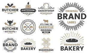 面包咖啡等图案标签创意设计矢量图