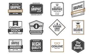 方形多边形等图形标签设计矢量素材