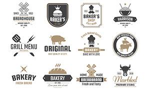 烘焙与餐饮等店铺标签设计矢量素材