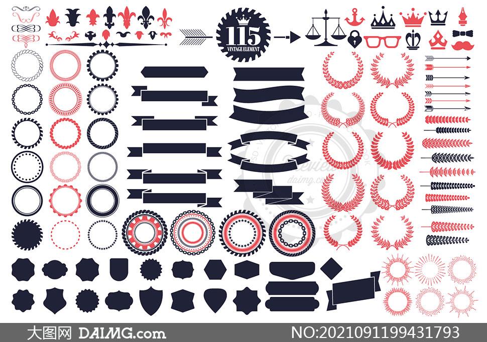 藤蔓装饰与飘带等标签元素矢量素材