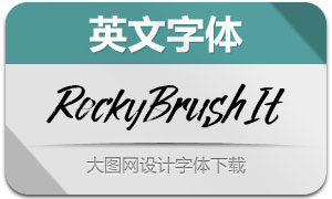 RockyBrush-Italic(英文字体)