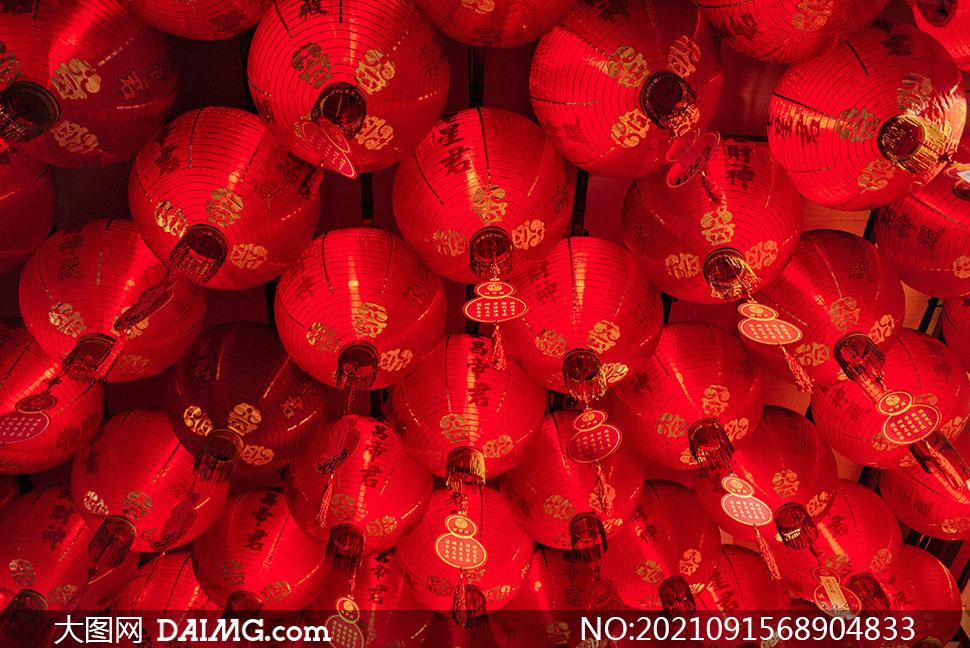 庙宇节日气氛红色灯笼摄影高清图片