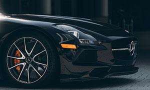 黑色奔驰汽车车头特写摄影高清图片