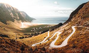 白云大海与盘山公路等摄影高清图片