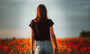 走在花丛中的长发美女摄影高清图片