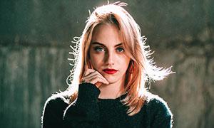 齐肩短发红唇美女逆光摄影高清图片