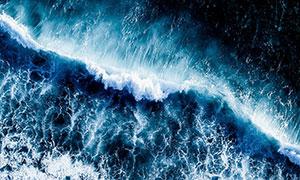 潮起潮落海面風光鳥瞰攝影高清圖片