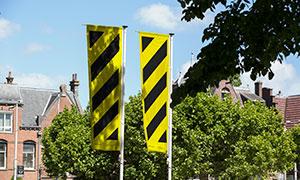 戶外廣告宣傳旗幟樣機模板分層素材
