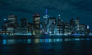 夜幕下的水岸城市繁华夜景高清图片