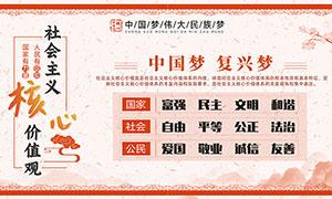 中国风社会主义核心价值观宣传栏设计