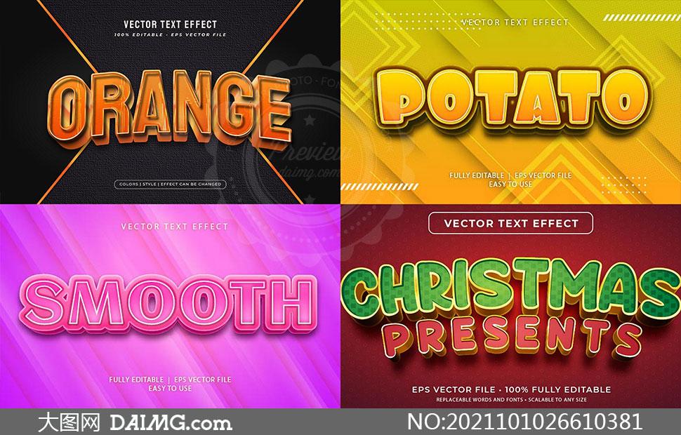 多样式立体字设计模板矢量素材集V114